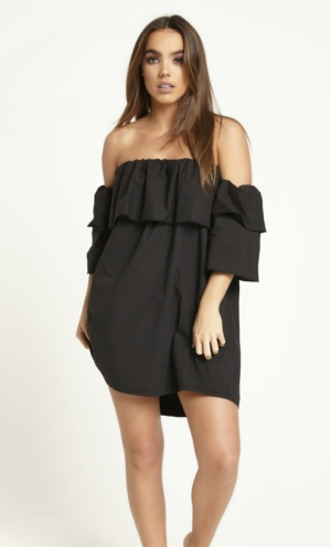 Off The Shoulder Ruffle Black Dress