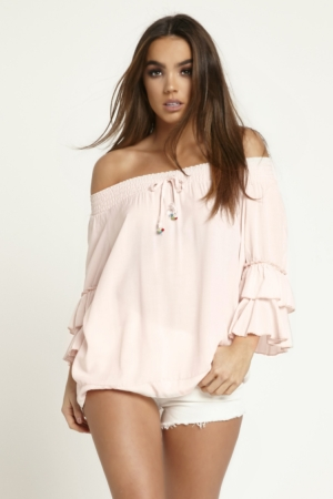 Pink Off The Shoulder Frill Top