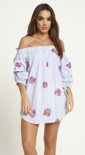 Off The Shoulder Striped Rose Dress