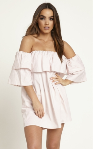 Off The Shoulder Ruffle Dusky Pink Dress