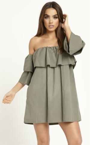 Off The Shoulder Ruffle Khaki Dress