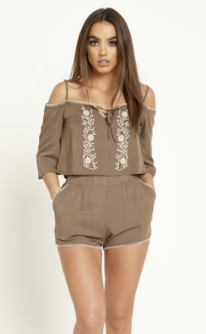 Embroidered Khaki Crop Top & Shorts Set