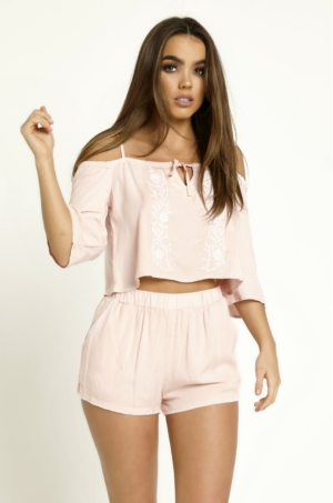 Embroidered Pink Crop Top & Shorts Set