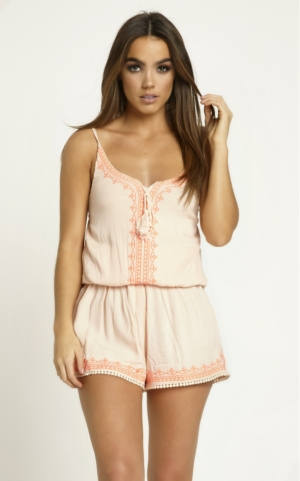 Neon Embroidered Pink Playsuit
