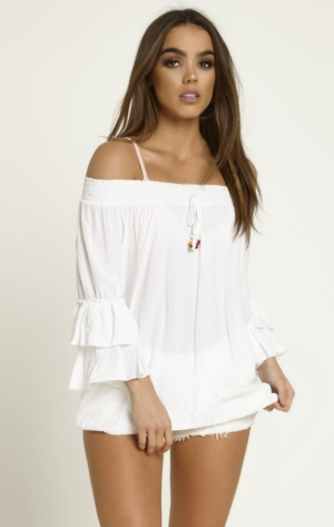 White Off The Shoulder Frill Top