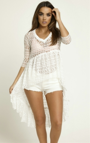 White Lace Frill Drop Hem Top