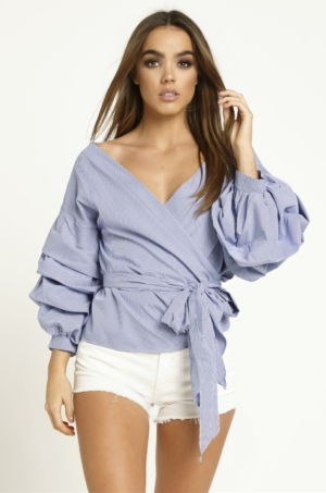 Blue & White Wrap Top With Frill Sleeves