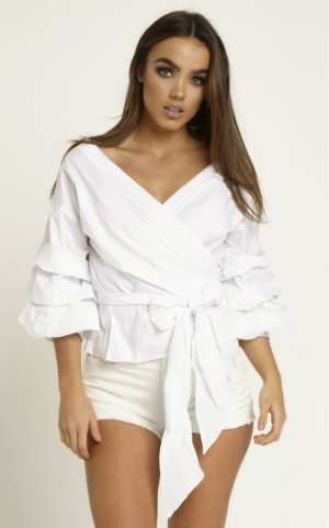 White Wrap Top With Frill Sleeves