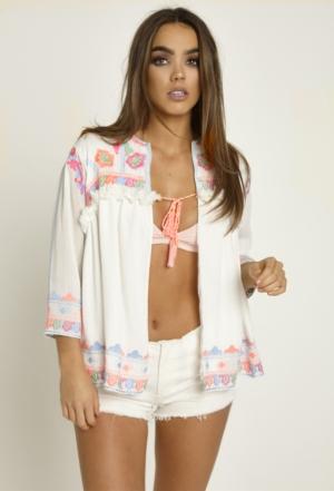 Neon Embroidered White Kimono