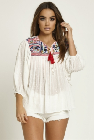 Embellished White Loose Blouse
