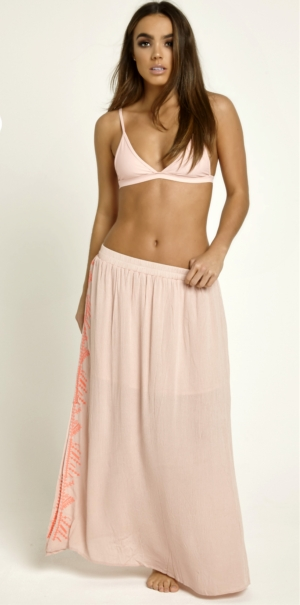 Pale Pink Maxi Embroidered Skirt
