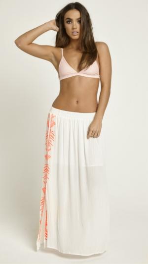 White & Neon Maxi Embroidered Skirt