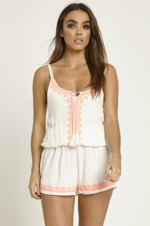 Neon Embroidered White Playsuit