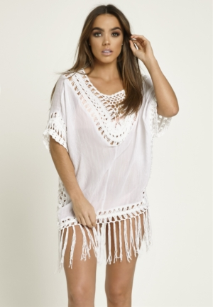White Crochet & Tassel Cover Up