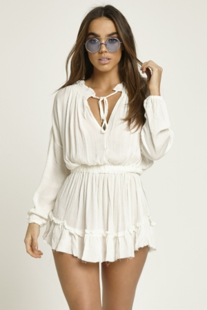 Crepe White Boho Dress