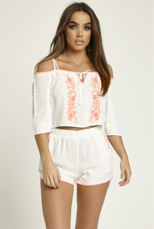 Embroidered White Crop Top & Shorts Set