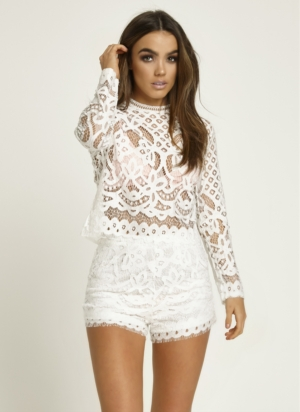 White Lace High Neck Set