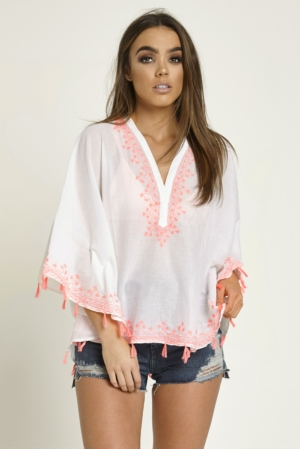 White & Neon Tassel Top