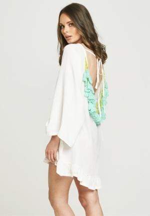 Backless Tassel Dress - White & Turquoise