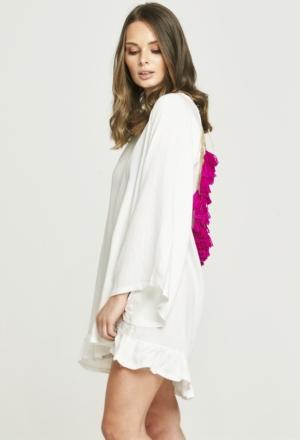 Backless Tassel Dress - White & Purple