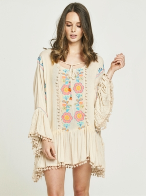 Neon Embroidered Taupe Drop Hem Dress