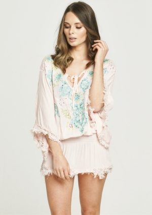 Pale Pink Sequin Fray Kaftan