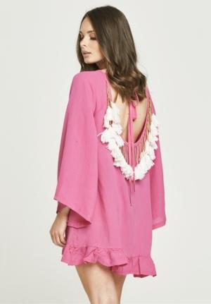 Backless Tassel Dress - Pink & White