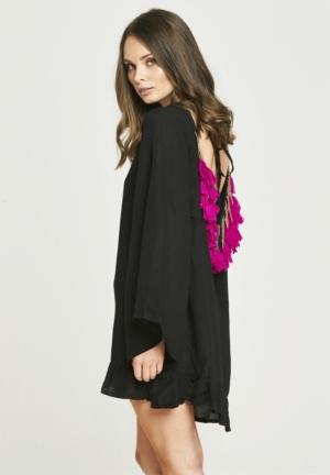 Backless Tassel Dress - Black & Purple