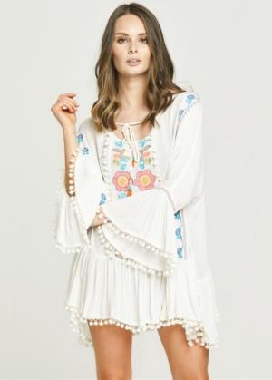 Neon Embroidered White Drop Hem Dress