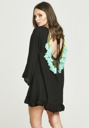 Backless Tassel Dress - Black & Turquoise