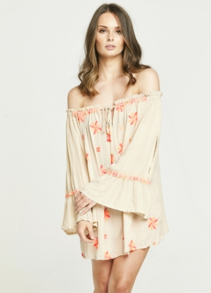 Neon Embroidered Taupe Off The Shoulder Dress