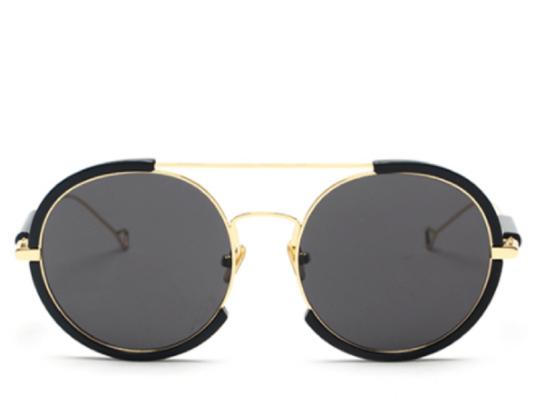 Sicily Oversized Black Round Sunglasses