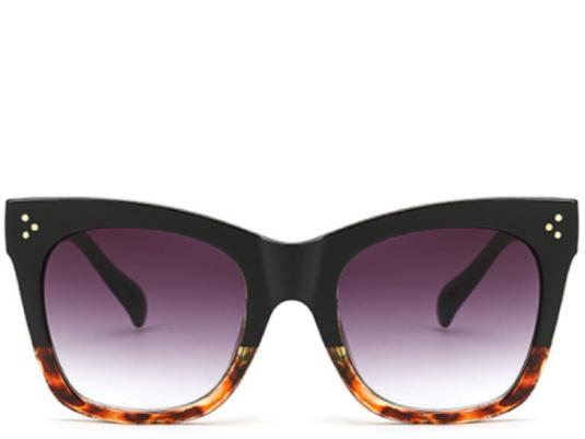 Valencia Black to Leopard Fade Oversized Sunglasses