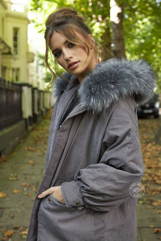 Martha Violet Grey Oversized Long Parka