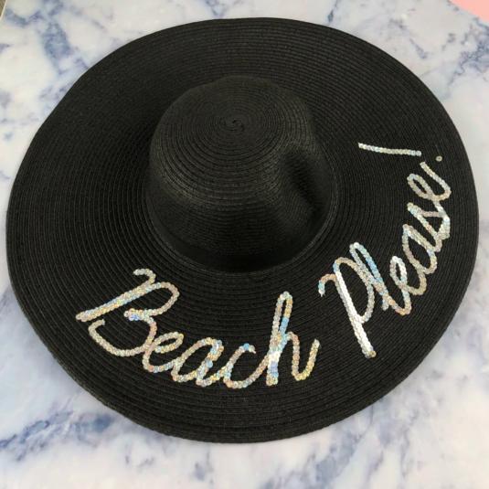 Beach Please! Black Floppy Hat