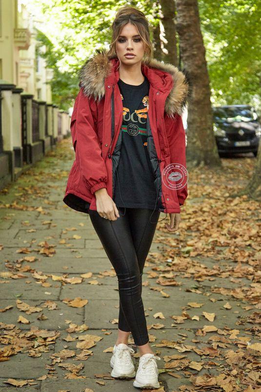 Erica Oversized Red Parka - Natural Fur