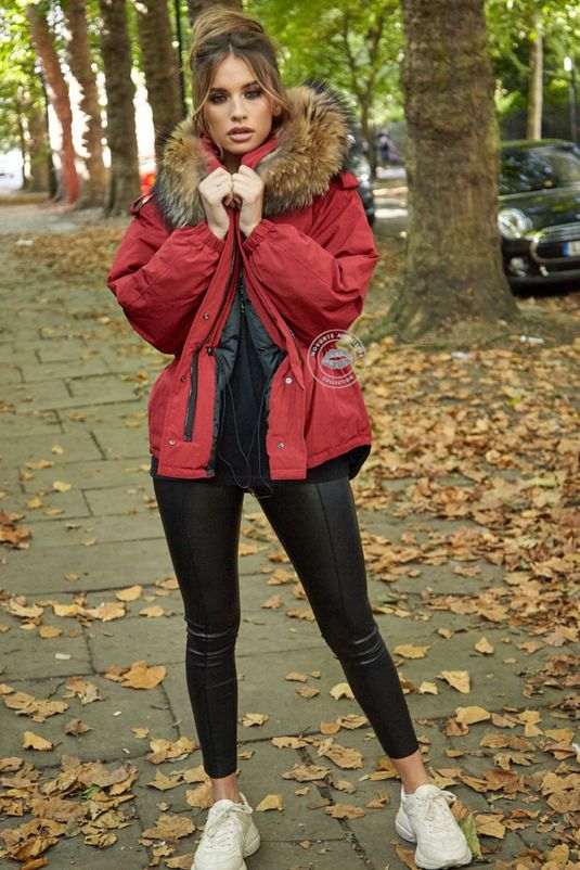 Erica Oversized Red Parka - Natural Fur