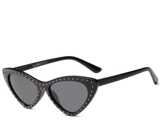Hawaii Black Studded Cats Eye Sunglasses