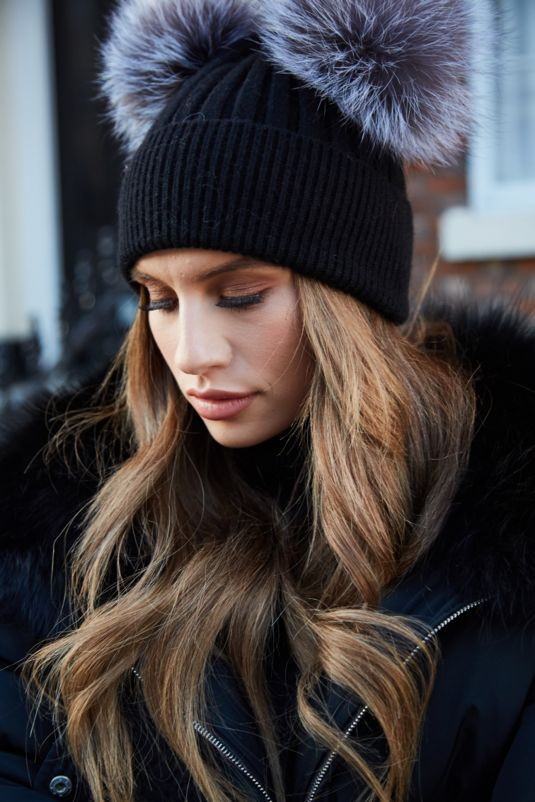 Black with Silver Fox DOUBLE Bobble Hat