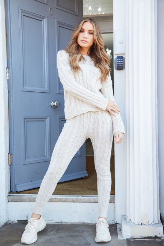 Isabella Cable Knit Beige Lounge Set