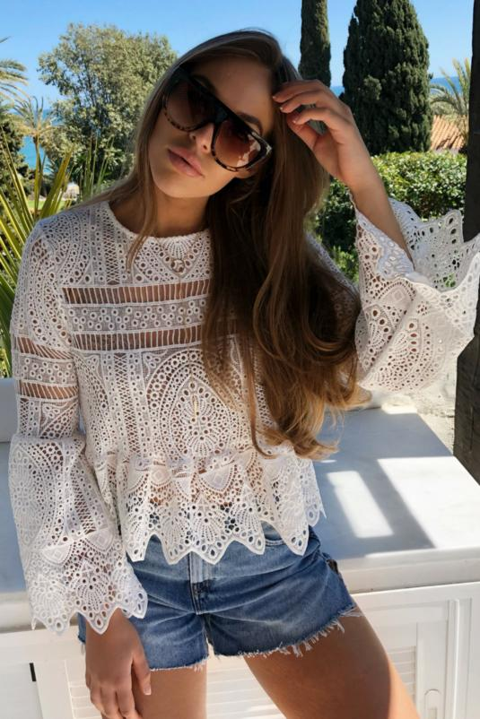 White Crochet Peplum Top