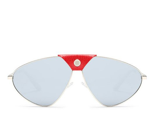 Saint Lucia Leather Bar Silver Mirror Aviators