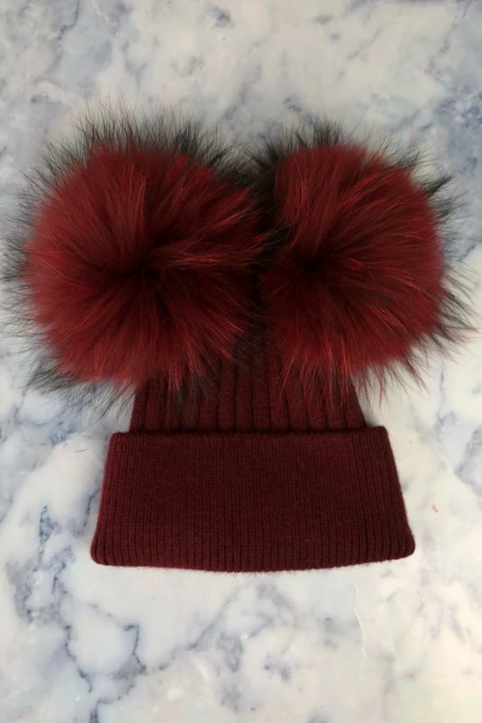 Burgundy DOUBLE Bobble Hat
