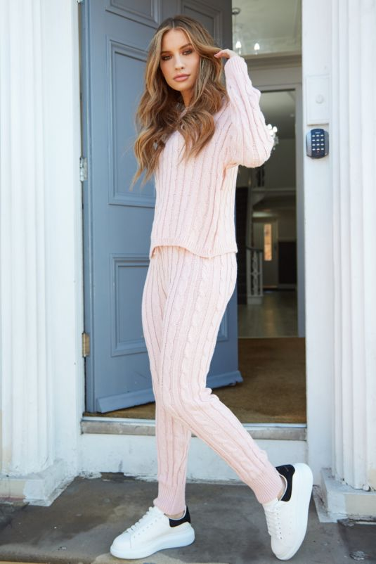 Isabella Cable Knit Pink Lounge Set