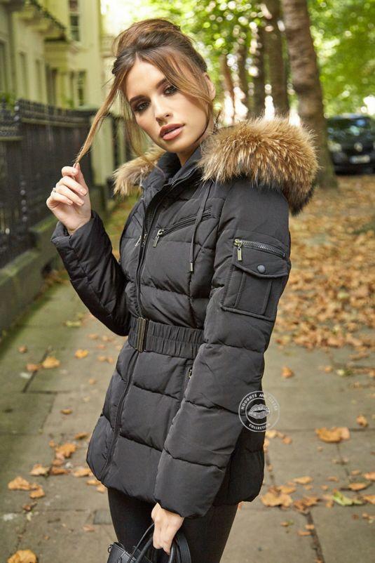 Celina Black Quilted Coat - Natural Fur