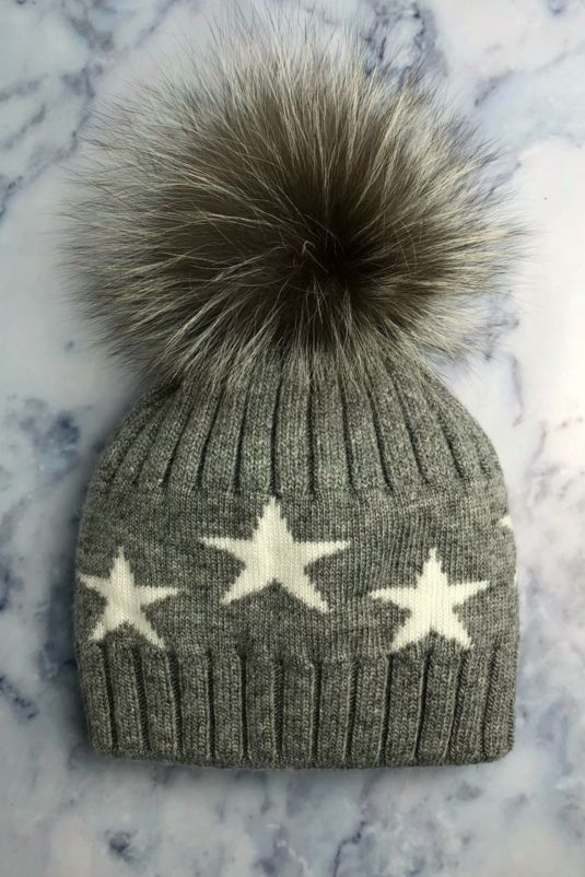 Grey STAR Bobble Hat