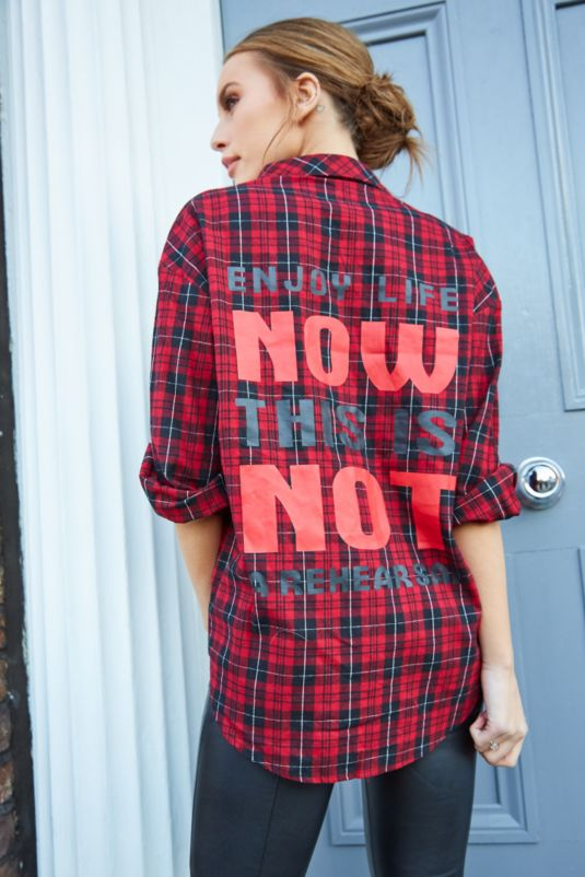 Slogan Red Check Shirt