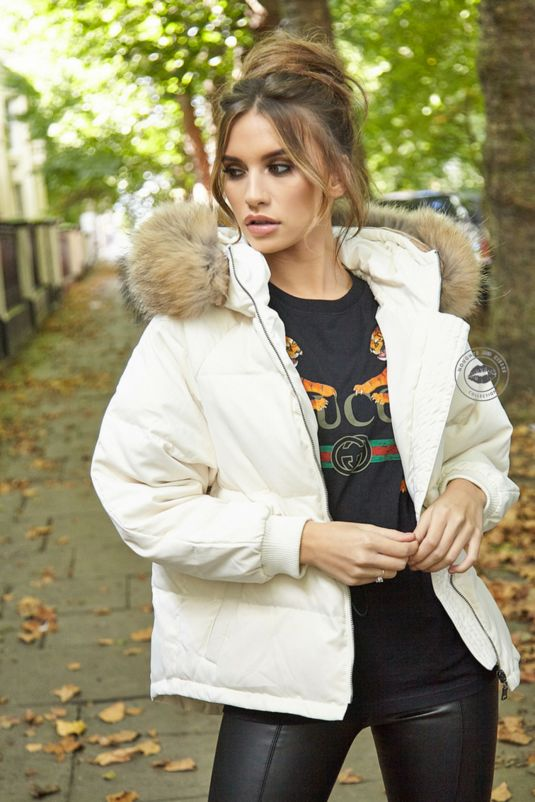 Lucie White Down Coat - Natural Fur
