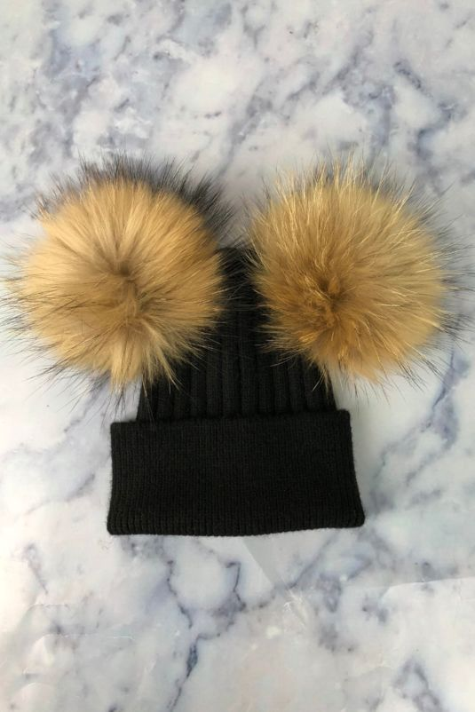 KIDS Black with Natural Double Bobble Hat