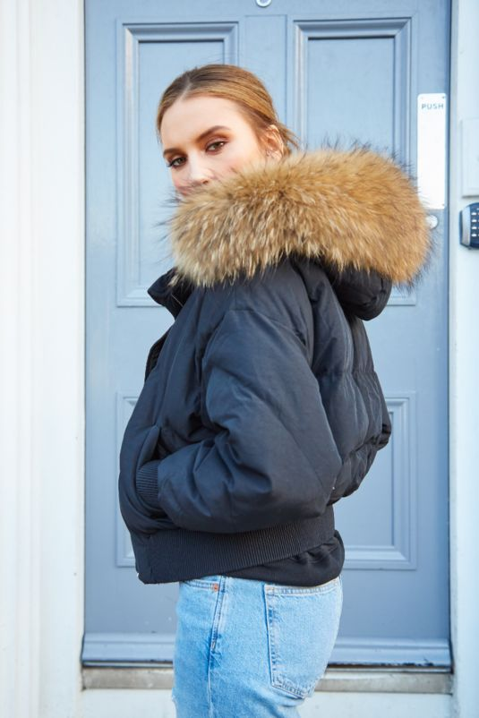 Mia Black Bomber Coat - Natural Fur